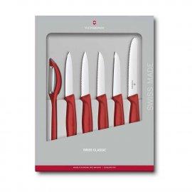 Noże kuchenne Victorinox - zestaw 5 elementów + obieraczka, czerwone