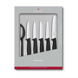 Noże kuchenne Victorinox - zestaw 5 elementów + obieraczka, czarne