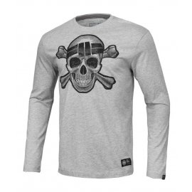Koszulka z długim rękawem Pit Bull Skull Wear '20 - Szara