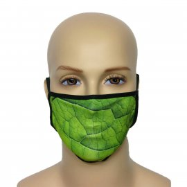Maska na twarz z nadrukiem ZBROJOWNIA - Liść - czarna