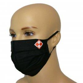 Maska bawełniana na twarz Szachownica Biało Czerwona - czarna