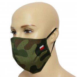 Maska Profilowanna Dwuwarstwowa RIPSTOP/FLIZELINA na twarz z haftowaną flagą - pl woodland ripstop