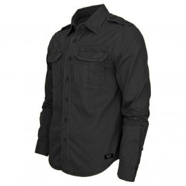 Koszula z długim rękawem BRANDIT Vintage Shirt - Czarna