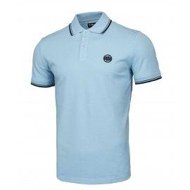 Koszulka Polo Pit Bull Slim Logo Stripes '21 - Błękitna