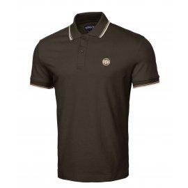 Koszulka Polo Pit Bull Slim Logo Stripes '21 - Brązowa