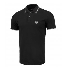 Koszulka Polo Pit Bull Slim Logo Stripes '21 - Czarna