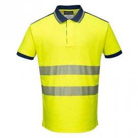 Koszulka Polo ostrzegawcza PW3 PORTWEST T180 - Żółty/Granatowy