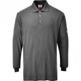 Koszulka Polo z długim rękawem, trudnopalna, antystatyczna PORTWEST FR10 - Szary