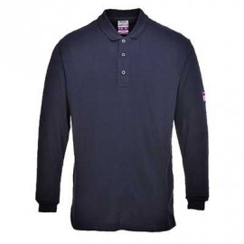 Koszulka Polo z długim rękawem, trudnopalna, antystatyczna PORTWEST FR10 - Granatowy