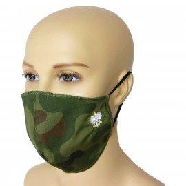 Maska Profilowanna Dwuwarstwowa RIPSTOP/FLIZELINA na twarz z haftowanym godłem - pl woodland