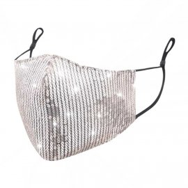 Maska ochronna z cekinami na twarz - srebrna na Filtr FFP2 N95 PM2.5