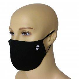 Maska Profilowanna na twarz z haftowanym hashtag - czarna L/XL