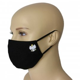 Maska Profilowana Dwuwarstwowa na twarz z haftowanym godłem - czarna L/XL