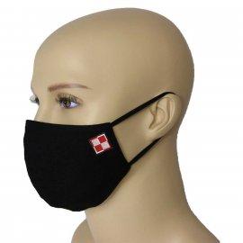Maska Profilowana Dwuwarstwowa na twarz z haftowaną szachownicą - czarna S/M