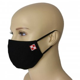 Maska Profilowana Dwuwarstwowa na twarz z haftowaną szachownicą - czarna L/XL