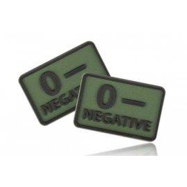 Naszywka emblemat GRUPA KRWI kpl. 2szt. PVC olive green 0/Rh+