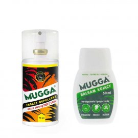 Zestaw - Repelent Środek na komary i inne owady Mugga Strong Spray 50% DEET + Balsam kojący Mugga na ukąszenia i poparzenia 50ml