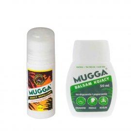 Zestaw - Repelent Środek na komary i inne owady Mugga Strong Roll-On (kulka)  50% DEET + Balsam kojący Mugga na ukąszenia i poparzenia 50ml