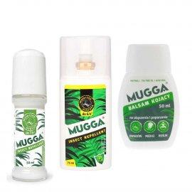 Zestaw - Repelent Środek na komary i inne owady Mugga spray 75ml + Roll-On (kulka) 50ml 9,4% DEET + Balsam 50 ml łagodzący ukąszenia