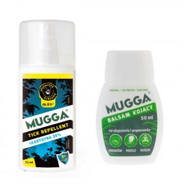 Zestaw - Repelent Środek na kleszcze komary inne owady Mugga TICK spray 25% Ikarydyna + Balsam Mugga na ukąszenia i poparzenia