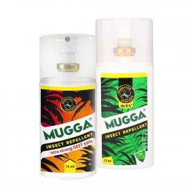 Zestaw - Repelent Środek na komary kleszcze i inne owady Mugga STRONG spray  50% DEET oraz Mugga Spray 9,4 DEET 75ml