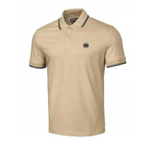 Koszulka Polo Pit Bull Regular Logo Stripes II '21 - Piaskowa 211076.2500