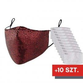Maska ochronna z cekinami na twarz - czerwona + 10 filtrów FFP2 N95 PM2.5
