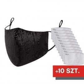 Maska ochronna z cekinami na twarz - czarna + 10 filtrów FFP2 N95 PM2.5