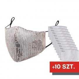 Maska ochronna z cekinami na twarz - srebrna + 10 filtrów FFP2 N95 PM2.5
