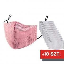 Maska ochronna z cekinami na twarz - różowa + 10 filtrów FFP2 N95 PM2.5