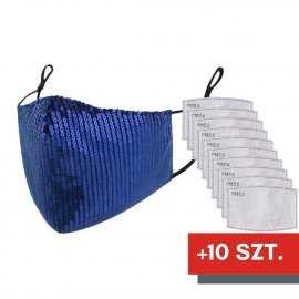 Maska ochronna z cekinami na twarz - niebieska + 10 filtrów FFP2 N95 PM2.5