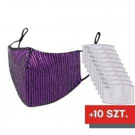 Maska ochronna z cekinami na twarz - fioletowa + 10 filtrów FFP2 N95 PM2.5