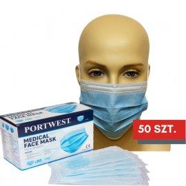 Maska medyczna PORTWEST typu IIR Niebieska - zestaw 50 szt.