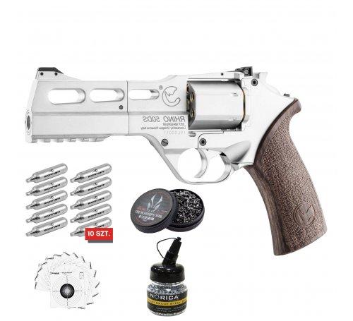 zestaw - wiatrówka - rewolwer Chiappa Rhino 50DS CO2 Nickel 4,5mm ACP002pack5