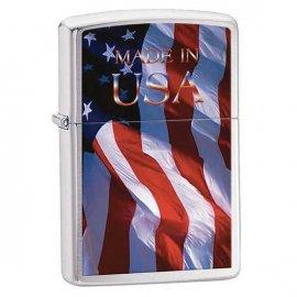 Zapalniczka ZIPPO Made in USA Flag, Brushed Chrome